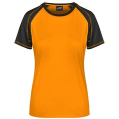 Dames T Shirt Duo Color Jn011 Orange Black