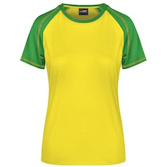Dames T Shirt Duo Color Jn011 Yellow Frog