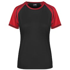 Dames T Shirt Jn011 Duo Color Black Red