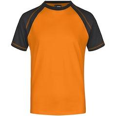 Heren T Shirt Duo Color Jn010 Orange Black