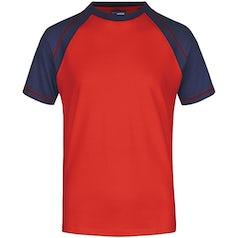 Heren T Shirt Duo Color Jn010 Red Navy