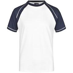 Heren T Shirt Duo Color Jn010 White Navy