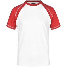 Heren T Shirt Duo Color Jn010 White Red