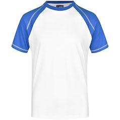 Heren T Shirt Duo Color Jn010 White Royal