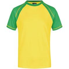 Heren T Shirt Duo Color Jn010 Yellow Frog