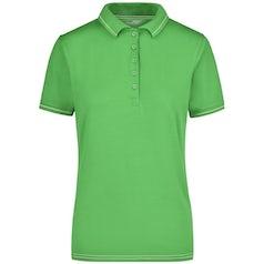 Jn568 Elastic Damespolo Contrast Strepen Lime Green White