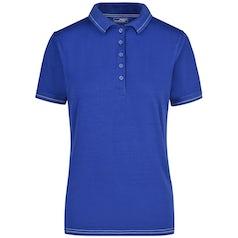 Jn568 Elastic Damespolo Contrast Strepen Royal Blue White
