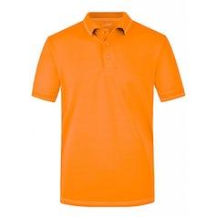 Jn569 Elastic Herenpolo Contrast Strepen Orange White