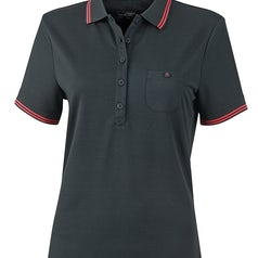 Jn701 Dames Poloshirt Micropolyester Black Red