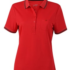 Jn701 Dames Poloshirt Micropolyester Red Black