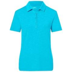 Jn751 Damespolo Van Slub Stof Turquoise