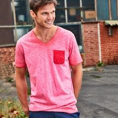 Jn8016 Heren T Shirt Slub Stof Kleur Chili