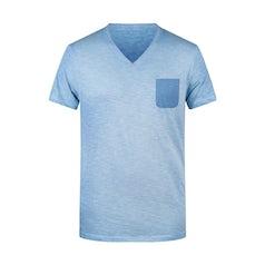 Jn8016 Heren T Shirt Slub Stof Kleur Horizon Blue
