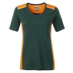Jn859 Dark Green Orange Dames Werk T Shirt