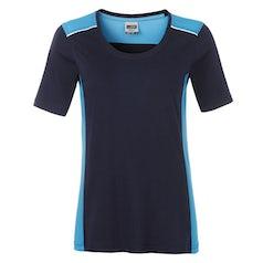Jn859 Navy Turquoise Dames Werk T Shirt