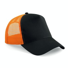 B640 Truckers Cap Cotton Black Orange