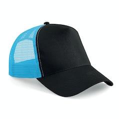 B640 Truckers Cap Cotton Black Surf Blue