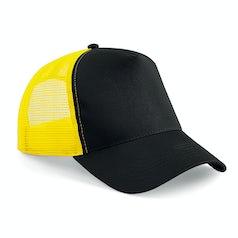 B640 Truckers Cap Cotton Black Yellow