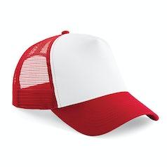 B640 Truckers Cap Cotton Classic Red White