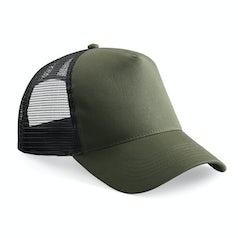 B640 Truckers Cap Cotton Olive Green Black