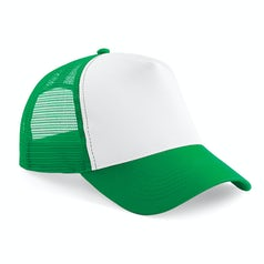 B640 Truckers Cap Cotton Pure Green White