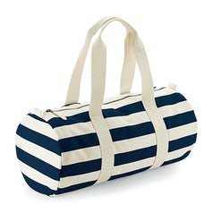 W688 Nautical Barrel Bag Natural Navy