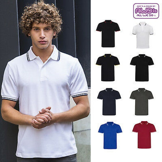 Jp003 Contrast Tipped Stretch Herenpolo
