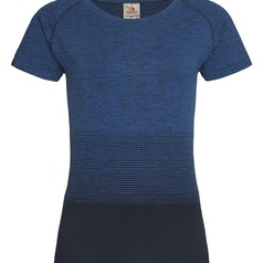 St8910 Dames Sportshirt Stedman Raglan Seamless Flow Blue Transition