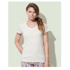 St9310 Dames T Shirt Organic Janet V Neck Winter White